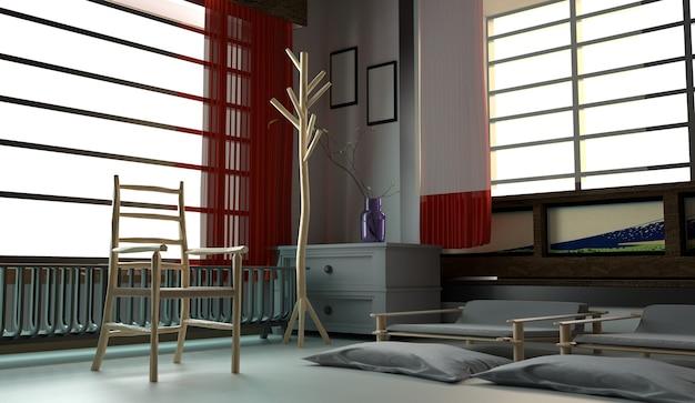 Modernes rauminnenarchitektur - japanischer stil. 3d-rendering Premium Fotos