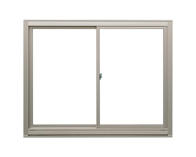 Modernes sauberes luxus-edelstahlfenster lokalisiert auf weißem hintergrund, leerer innenrahmen Premium Fotos