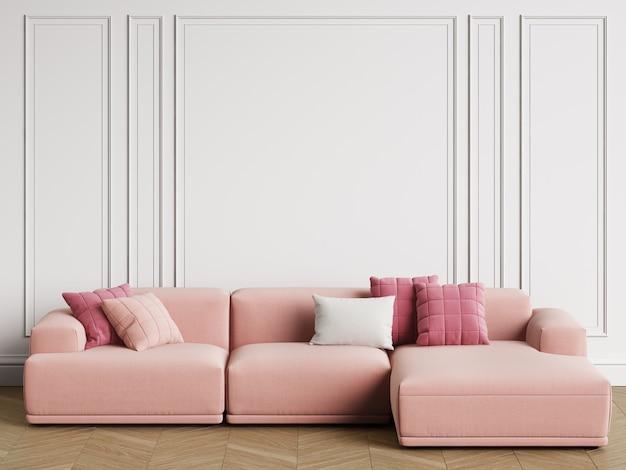 Modernes skandinavisches designsofa im innenraum. wände mit zierleisten, parkettfischgrät. kopieren sie platz, wiedergabe 3d Premium Fotos