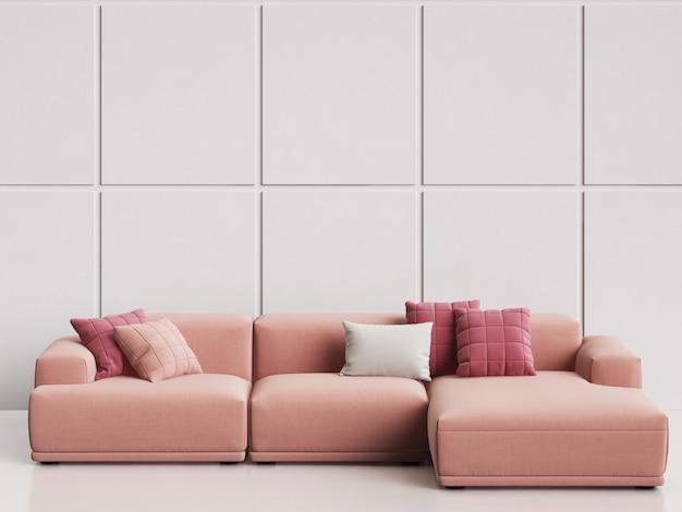 Modernes skandinavisches designsofa im weißen leeren innenraum. kopieren sie platz, wiedergabe 3d Premium Fotos