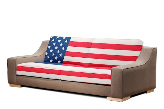 Modernes sofa mit usa-flagge Premium Fotos