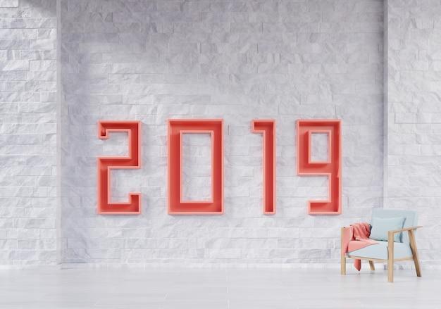 Modernes wohnzimmer mit lehnsessel und bildungskonzept des neuen jahres 2019. Premium Fotos