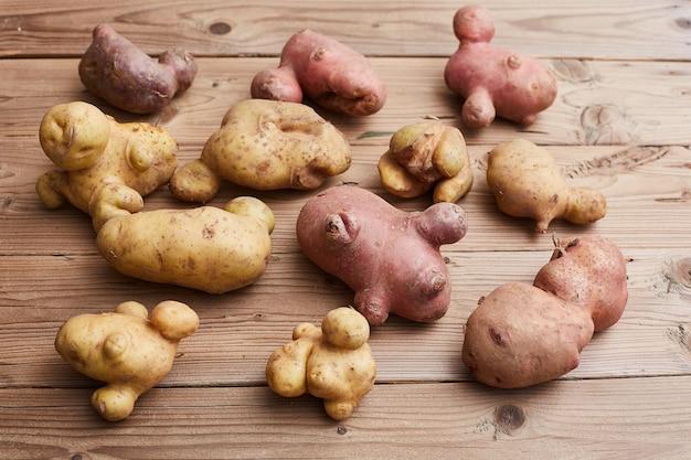 Modische hässliche kartoffeln auf einer hölzernen rustikalen tabelle. hässliches gemüsekonzept. Premium Fotos
