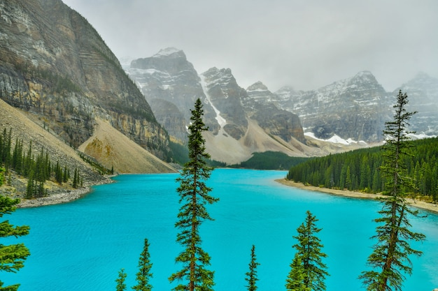 Moraine see in nationalpark banff, alberta, kanada Premium Fotos