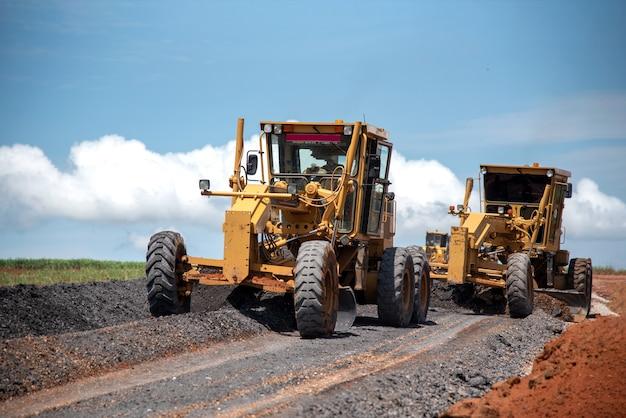 Motor grader civil construction verbesserung basis straßenbau Premium Fotos