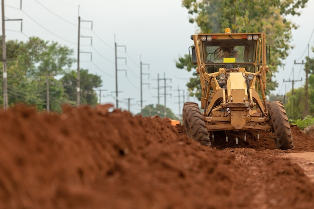 Motor grader civil construction verbesserung basis straßenbau. Premium Fotos