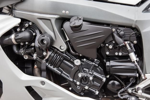 Motorteile einer rennmotorradnahaufnahme. Premium Fotos