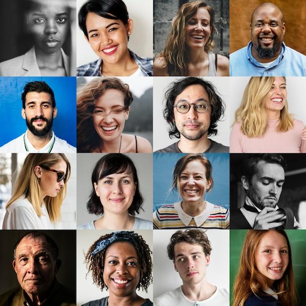 Multi-ethnien verschiedener menschen stehen porträts gegenüber Premium Fotos