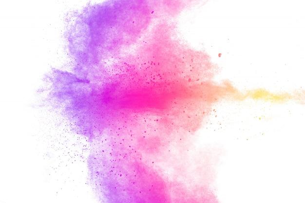 Multi farbpulverexplosion auf weißem hintergrund. Premium Fotos