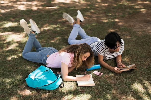 Multiethnische jugendstudenten, die auf gras studieren Kostenlose Fotos