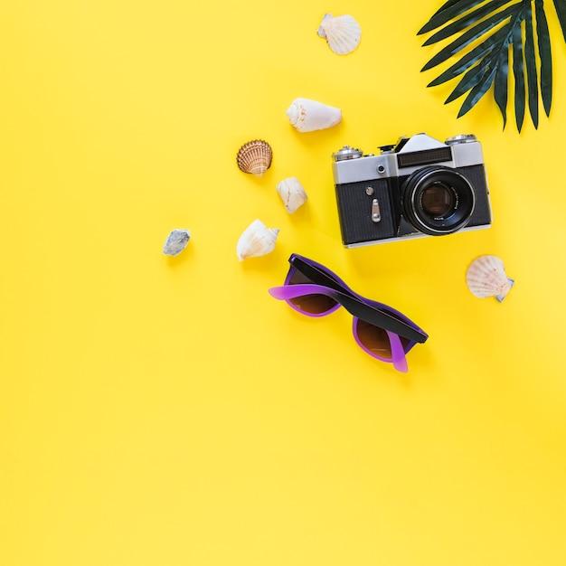 Muscheln; kamera; sonnenbrille und palmblatt auf gelbem hintergrund Kostenlose Fotos