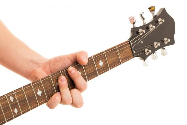 Musik, nahaufnahme. musiker, der e-gitarre hält Kostenlose Fotos