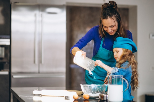 Mutter und tochter, die in der küche backen Premium Fotos