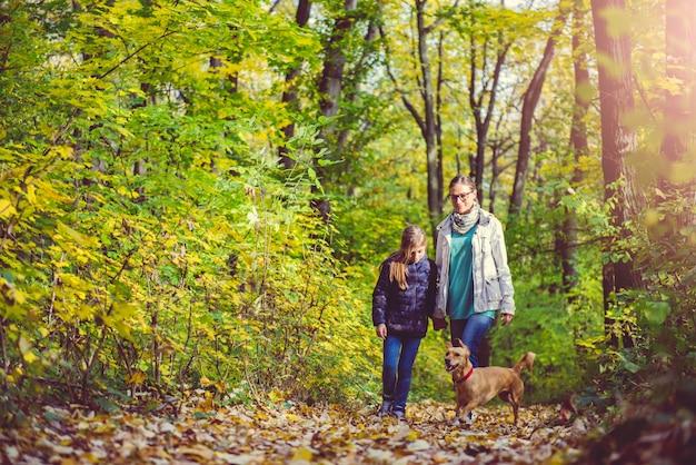 Mutter und tochter, die in einem wald wandern Premium Fotos
