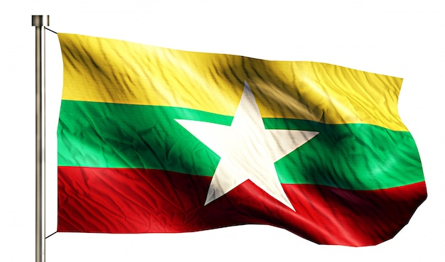 Myanmar nationalflagge isoliert 3d weißen hintergrund Kostenlose Fotos