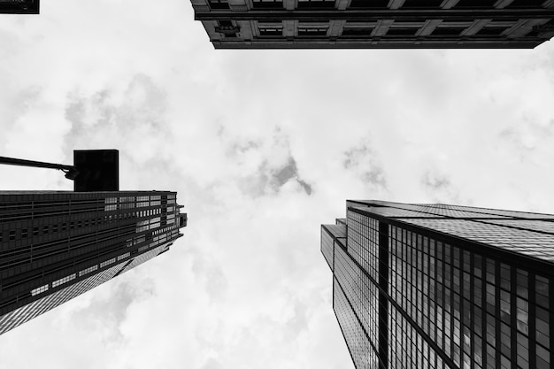 Nach hohen wolkenkratzern in einer städtischen stadt suchen Kostenlose Fotos