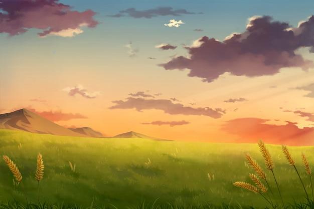 Nachmittagssonnenuntergang-himmelwolken - anime-hintergrund. Premium Fotos