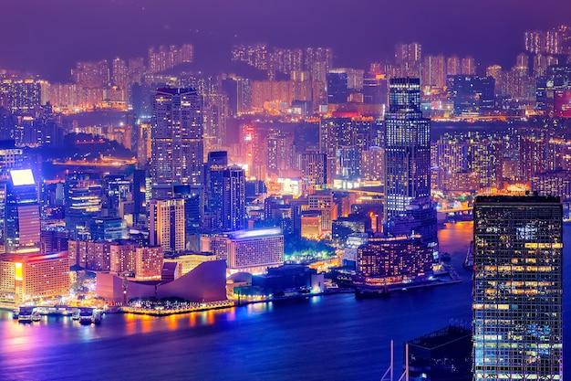 Nacht hong kong skyline Premium Fotos