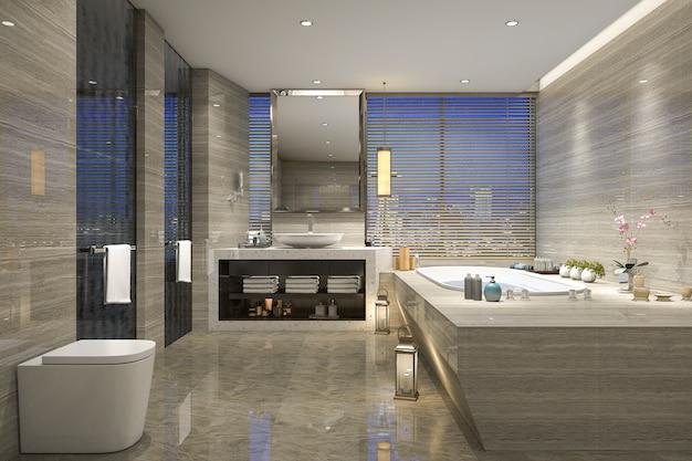 Nachtansichtbadezimmer der wiedergabe 3d mit modernem luxusdesign Premium Fotos