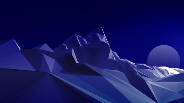 Nachtpolygonales bild eines bergigen geländes gegen den himmel und den mond. 3d darstellung Premium Fotos