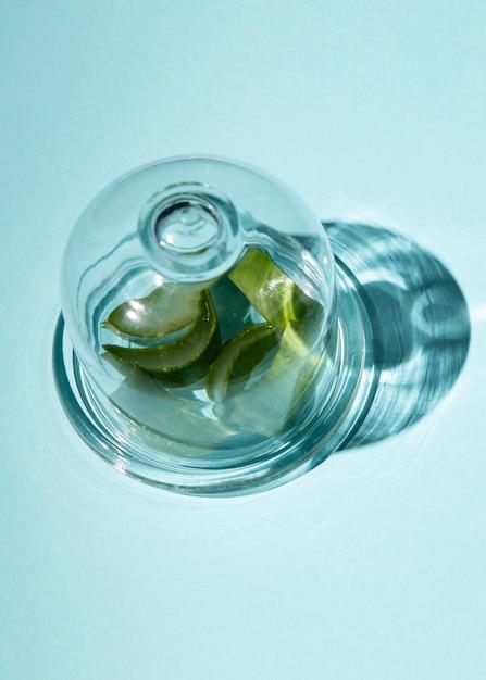 Nahaufnahme der aloe vera innerhalb eines glases Kostenlose Fotos