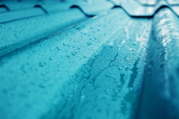 Nahaufnahme der blauen dach-beschaffenheit. Premium Fotos