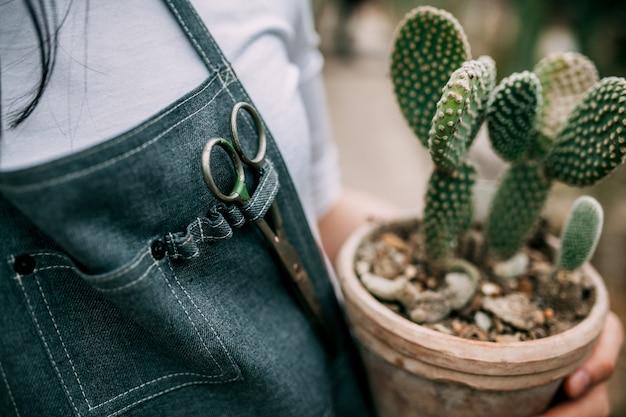 Nahaufnahme der frau, die einen keramiktopf mit kaktus hält Premium Fotos