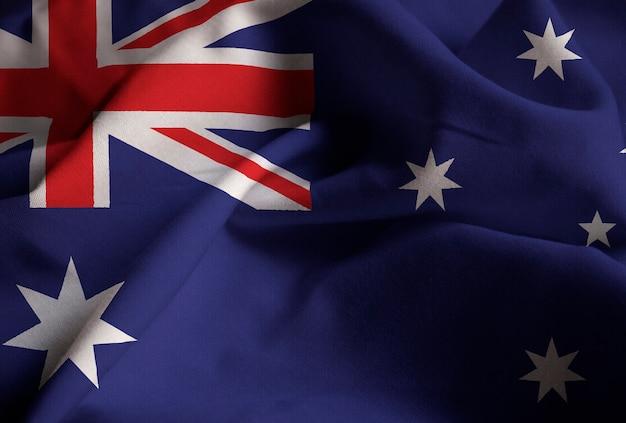 Nahaufnahme der gekräuselten australien-flagge, australien-flagge, die im wind durchbrennt Premium Fotos