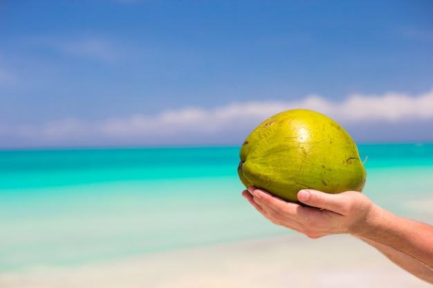 Nahaufnahme der kokosnuss in den männlichen händen gegen das türkismeer Premium Fotos