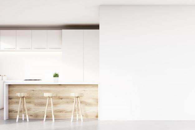 Nahaufnahme der küchenbar und hocker Premium Fotos