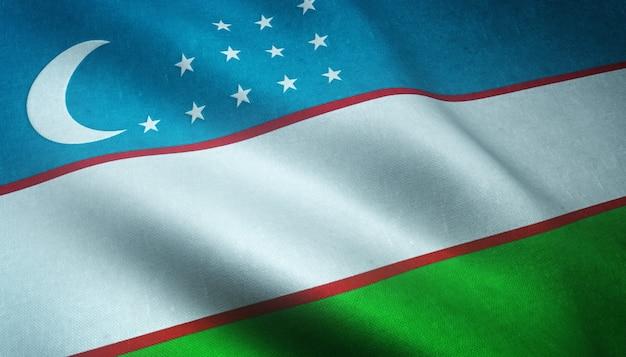 Nahaufnahme der realistischen flagge usbekistans mit interessanten texturen Kostenlose Fotos