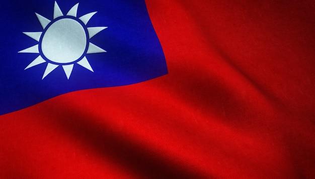 Nahaufnahme der realistischen flagge von taiwan mit interessanten texturen Kostenlose Fotos