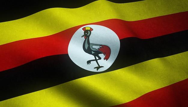 Nahaufnahme der realistischen flagge von uganda mit interessanten texturen Kostenlose Fotos
