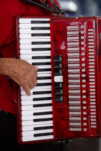 Nahaufnahme des akkordeonisten und seines instruments Premium Fotos