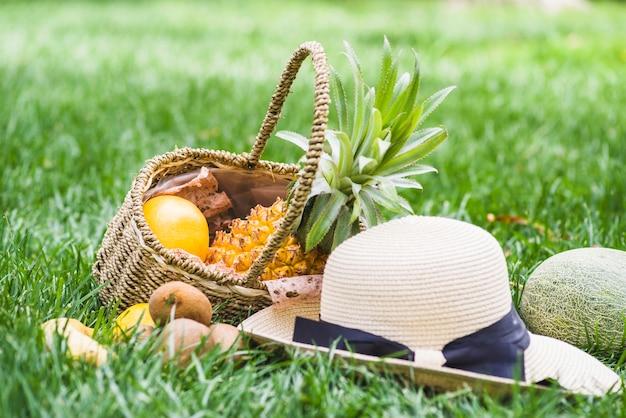 Nahaufnahme des hutes und der früchte im weidenkorb auf gras Kostenlose Fotos