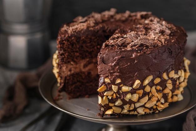 Nahaufnahme des köstlichen schokoladenkuchens Kostenlose Fotos