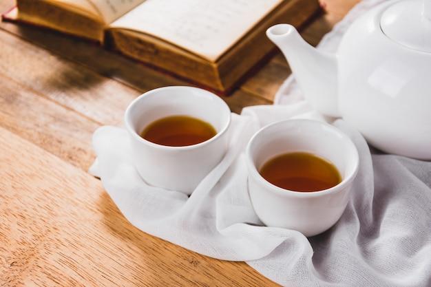 Nahaufnahme des weißen chinesischen teesatzes auf holztisch Premium Fotos