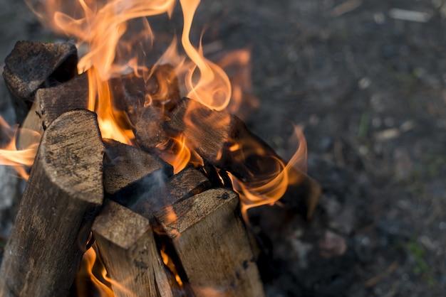 Nahaufnahme flammen vom lagerfeuer Kostenlose Fotos