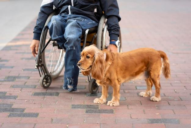 Nahaufnahme mann im rollstuhl mit hund Kostenlose Fotos