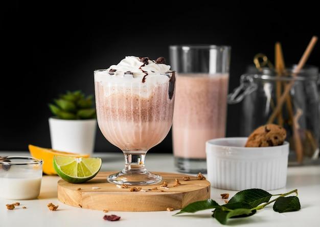 Nahaufnahme schokoladenmilchshake Premium Fotos