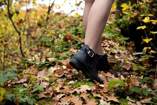 Nahaufnahme schoss von den schönen weiblichen beinen in den schwarzen schuhen, die im wald auf abgenutzte blätter und moos im herbst stehen Premium Fotos