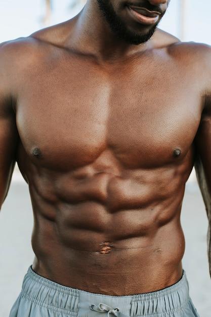 Nahaufnahme von abs auf einem mann fit Kostenlose Fotos
