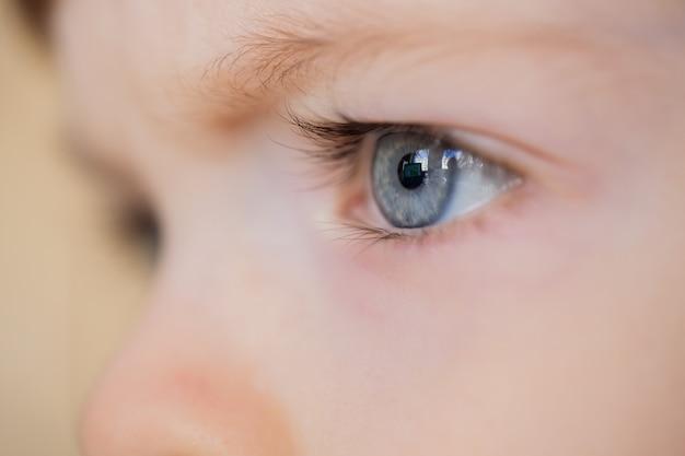 Nahaufnahme von augen eines blauäugigen kindes. Premium Fotos