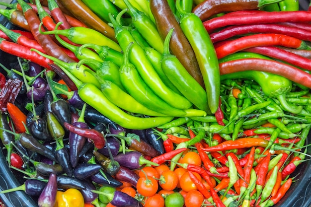 Nahaufnahme von chillies und paprika verschiedener sorten Premium Fotos