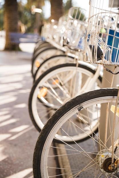 Nahaufnahme von fahrrädern in folge geparkt für miete Kostenlose Fotos