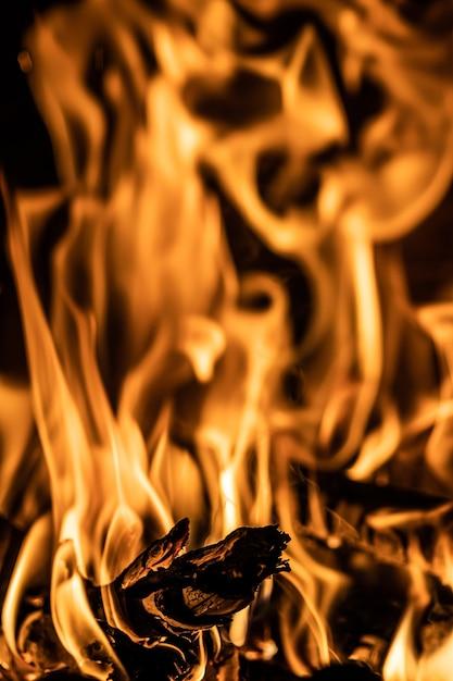 Nahaufnahme von feuerflammen mit brennendem brennholz Kostenlose Fotos