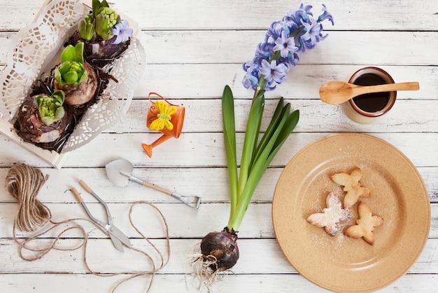 Nahaufnahme von niedlichen schmetterlingsplätzchen auf einer platte und hyazinthenblumen Premium Fotos