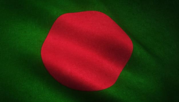 Nahaufnahmeaufnahme der flagge von bangladesch mit interessanten texturen Kostenlose Fotos