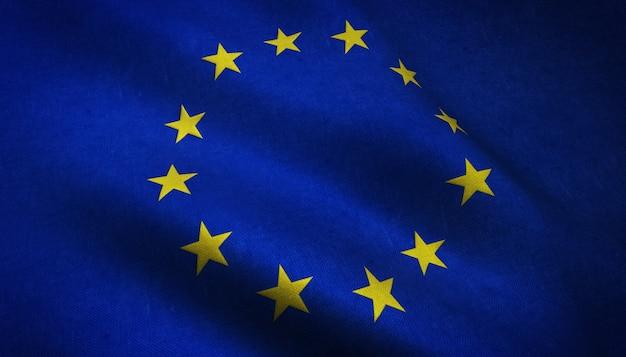 Nahaufnahmeaufnahme der realistischen wehenden flagge europas mit interessanten texturen Kostenlose Fotos