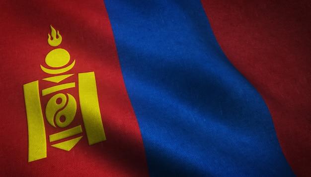 Nahaufnahmeaufnahme der wehenden flagge der mongolei mit interessanten texturen Kostenlose Fotos